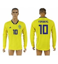 Sweden 10 FORSBERC Home 2018 FIFA World Cup Long Sleeve Thailand Soccer Jersey