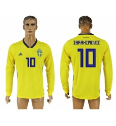 Sweden 10 IBRAHIMOVIC Home 2018 FIFA World Cup Long Sleeve Thailand Soccer Jersey