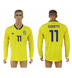 Sweden 11 GUIDETTI Home 2018 FIFA World Cup Long Sleeve Thailand Soccer Jersey