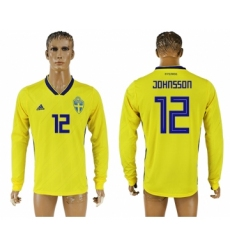 Sweden 12 JOHNSSON Home 2018 FIFA World Cup Long Sleeve Thailand Soccer Jersey