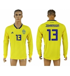 Sweden 13 JOHANSSON Home 2018 FIFA World Cup Long Sleeve Thailand Soccer Jersey