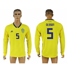 Sweden 5 OLSSON Home 2018 FIFA World Cup Long Sleeve Thailand Soccer Jersey