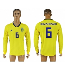 Sweden 6 RUGUSTINSSON Home 2018 FIFA World Cup Long Sleeve Thailand Soccer Jersey