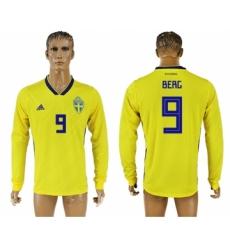 Sweden 9 BERC Home 2018 FIFA World Cup Long Sleeve Thailand Soccer Jersey