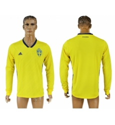 Sweden Home 2018 FIFA World Cup Long Sleeve Thailand Soccer Jersey