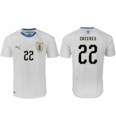 Uruguay 22 CACERES Away 2018 FIFA World Cup Thailand Soccer Jersey
