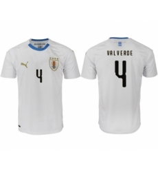 Uruguay 4 VALVERDE Away 2018 FIFA World Cup Thailand Soccer Jersey