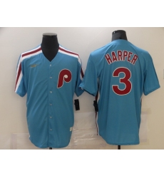 Men's Nike Philadelphia Phillies #3 Bryce Harper Blue Cooperstown Collection Home Stitched Baseball Jersey