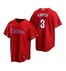 Men's Nike Philadelphia Phillies #3 Bryce Harper Red Alternate Stitched Baseball Jersey