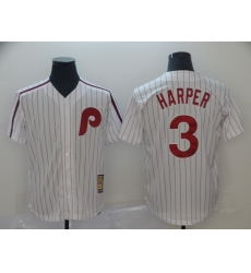 Men's Nike Philadelphia Phillies #3 Bryce Harper White Collection Home Stitched Baseball Jersey