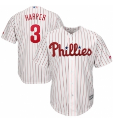 Men's Philadelphia Phillies #3 Bryce Harper Majestic WhiteRed Strip Home Official Cool Base Player