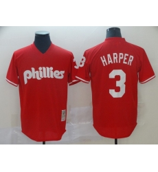 Men's Philadelphia Phillies #3 Bryce Harper Red Alternate Stitched Baseball Jersey