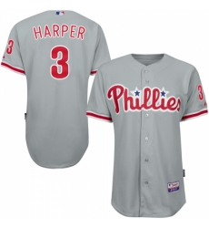 Youth Philadelphia Phillies #3 Bryce Harper Grey Cool Base Stitched MLB Jersey