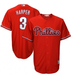 Youth Philadelphia Phillies #3 Bryce Harper RED Majestic Scarlet Cool Base Replica Player Jersey