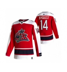Men's Columbus Blue Jackets #14 Gustav Nyquist Red 2020-21 Reverse Retro Alternate Hockey Jersey