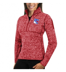 New York Rangers Antigua Women's Fortune Zip Pullover Sweater Red