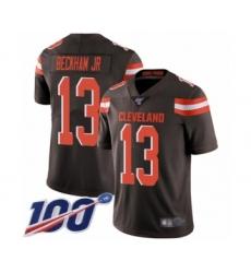 Men's Cleveland Browns #13 Odell Beckham Jr. 100th Season Brown Team Color Vapor Untouchable Limited Player Football Jersey