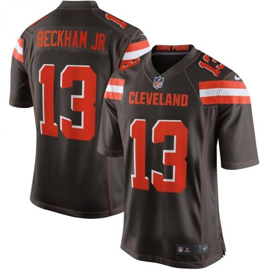 Men's Cleveland Browns #13 Odell Beckham Jr Nike Brown Game Jersey