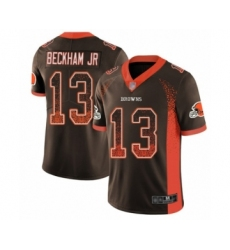 Men's Odell Beckham Jr. Limited Brown Nike Jersey NFL Cleveland Browns #13 Rush Drift Fashion