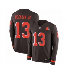 Men's Odell Beckham Jr. Limited Brown Nike Jersey NFL Cleveland Browns #13 Therma Long Sleeve