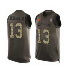 Men's Odell Beckham Jr. Limited Green Nike Jersey NFL Cleveland Browns #13 Salute to Service Tank Top
