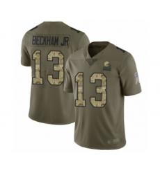 Men's Odell Beckham Jr. Limited Olive Camo Nike Jersey NFL Cleveland Browns #13 2017 Salute to Service