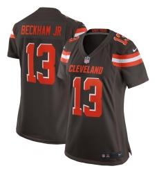 Women's Cleveland Browns #13 Odell Beckham Jr Nike Brown Game Jersey
