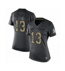 Women's Odell Beckham Jr. Limited Black Nike Jersey NFL Cleveland Browns #13 2016 Salute to Service