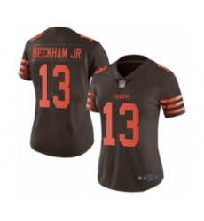 Women's Odell Beckham Jr. Limited Brown Nike Jersey NFL Cleveland Browns #13 Rush Vapor Untouchable