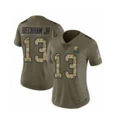 Women's Odell Beckham Jr. Limited Olive Camo Nike Jersey NFL Cleveland Browns #13 2017 Salute to Service