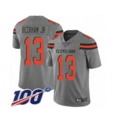 Youth Cleveland Browns #13 Odell Beckham Jr. 100th Season Limited Gray Inverted Legend Football Jersey