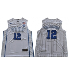 Duke Blue Devils #12 Zion Williamson White Basketball Elite Stitched NCAA Jersey