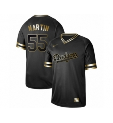 Men's Los Angeles Dodgers #55 Russell Martin Authentic Black Gold Fashion Baseball Jersey