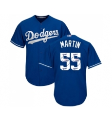 Men's Los Angeles Dodgers #55 Russell Martin Authentic Royal Blue Team Logo Fashion Cool Base Baseball Jersey