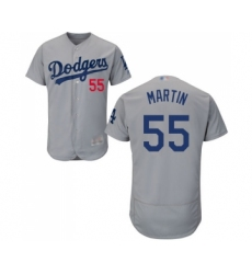 Men's Los Angeles Dodgers #55 Russell Martin Gray Alternate Flex Base Authentic Collection Baseball Jersey