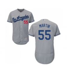 Men's Los Angeles Dodgers #55 Russell Martin Grey Road Flex Base Authentic Collection Baseball Jersey