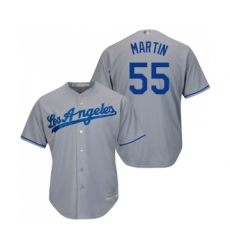 Men's Los Angeles Dodgers #55 Russell Martin Replica Grey Road Cool Base Baseball Jersey