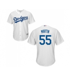 Men's Los Angeles Dodgers #55 Russell Martin Replica White Home Cool Base Baseball Jersey