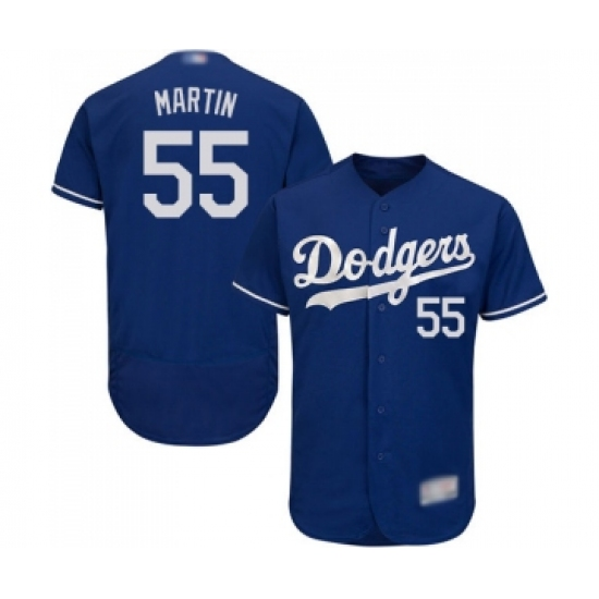 Men's Los Angeles Dodgers #55 Russell Martin Royal Blue Alternate Flex Base Authentic Collection Baseball Jersey