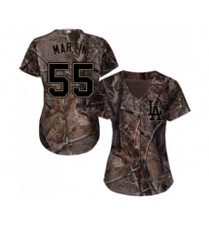 Women's Los Angeles Dodgers #55 Russell Martin Authentic Camo Realtree Collection Flex Base Baseball Jersey