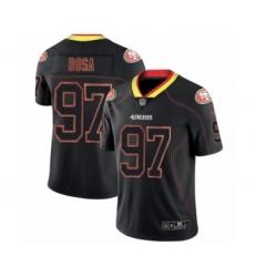 Men's San Francisco 49ers #97 Nick Bosa Limited Lights Out Black Rush Football Jersey