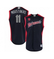 Men's Milwaukee Brewers #11 Mike Moustakas Authentic Navy Blue National League 2019 Baseball All-Star Jersey