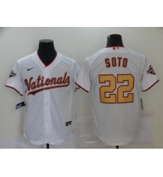 Men's Nike Washington Nationals #22 Juan Soto White Gold Home Stitched Baseball Jersey