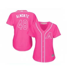 Women's Arizona Diamondbacks #48 Abraham Almonte Replica Pink Fashion Baseball Jersey