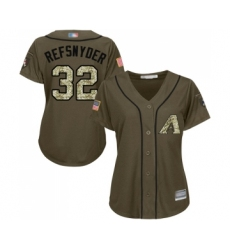 Women's Arizona Diamondbacks #32 Rob Refsnyder Authentic Green Salute to Service Baseball Jersey