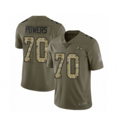 Men's Baltimore Ravens #70 Ben Powers Limited Olive Camo Salute to Service Football Jersey
