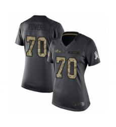 Women's Baltimore Ravens #70 Ben Powers Limited Black 2016 Salute to Service Football Jersey