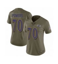 Women's Baltimore Ravens #70 Ben Powers Limited Olive 2017 Salute to Service Football