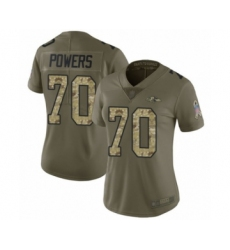 Women's Baltimore Ravens #70 Ben Powers Limited Olive Camo Salute to Service Football Jersey