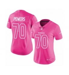 Women's Baltimore Ravens #70 Ben Powers Limited Pink Rush Fashion Football Jersey
